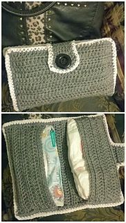 Crocheted diaper and wipes clutch - free pattern from ravelry. I bet I could make this a little wider/deeper so I could keep prefold diapers inside. #mustmake