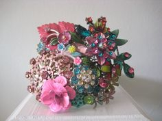 Multi Color Pink Bright Cuff  Bracelet Collage Teal Fantasy Garden. $90.00, via Etsy.