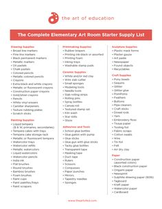 A Complete List of Supplies for Your New Art Room In the article Opening a New Art Room: An Art Teacher's Cheat Sheet with Art Educator Allison Krook, we discussed everything you would want to consider when opening a new art room. Today, we are going t Teacher Supplies, Classroom Supplies, Art Supplies, Classroom Organization, School Supplies, Teacher Tips, Teacher Stuff, Classroom Ideas, High School Art