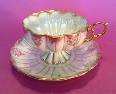 Royal Sealy Pedestal Tea Cup And Saucer - Iridescent White And Gold- Japan #RoyalSealyChina