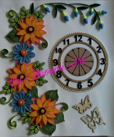 Quilling wall clock! #flowers#butterfly#pearls#quilledmagic