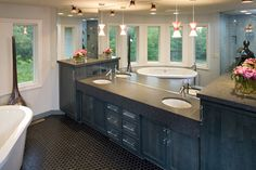Double-Bowl Vanity With A Sleek Black Countertop - plan #013S-0015 | houseplansandmore.com