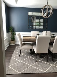 Eagan Multipanel Mirror – Large – Area Rugs on hardwood Dining Room Blue, Dining Room Design, Dining Room Inspiration, Home Decor Inspiration, Decor Ideas, Blue Accent Walls, Dining Room Wainscoting, New Homes, Interior Design