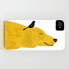 A snoozing golden retriever decorates this iPhone case.