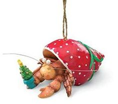 Pet Hermit Crab in Holiday Red Shell Christmas Tree Ornament *** Details can be found by clicking on the image. (This is an affiliate link)