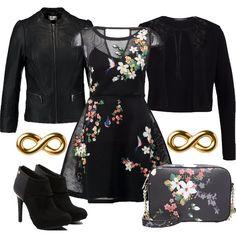 Outfit+per+il+tempo+libero,+che+presenta+come+capo+centrale+un+abito+corto+nero+a+fantasia+floreale,+accompagnato+da+un+cardigan+a+girocollo+e+da+una+giacca+in+ecopelle+nera.+Lo+stivaletto,+con+dettagli+color+oro,+ha+tacco+a+spillo+e+plateau+nascosto,+mentre+la+borsa+a+tracolla,+abbinata+perfettamente+all'abito,+ha+chiusura+a+cerniera.+Completano+il+look+gli+orecchini+in+metallo+dorato.+L'outfit+si+presenta+ideale+per+il+tempo+libero+e+per+serate+casual.