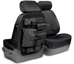 Heavy duty tactical seat covers for lots of driver and passenger accessible storage