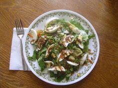 Salad with hard boiled eggs - Yum!
