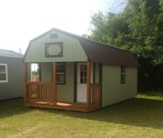 Save space with outdoor storage solutions from Coastal Portable Buildings Inc located in Starke Florida. Lofted Barn Cabin, Shed Cabin, Cabin Loft, Shed With Loft, Tiny House Loft, Tiny House Plans, Portable Storage Sheds, Portable Cabins, Metal Building Homes