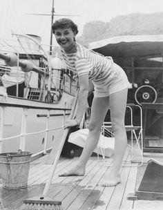 Audrey Hepburn.  Swabbing the Deck.