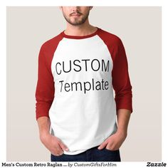 Men's Custom Retro Raglan T-Shirt WHITE & RED