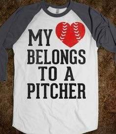 My Heart Belongs To A Pitcher (Baseball Tee)
