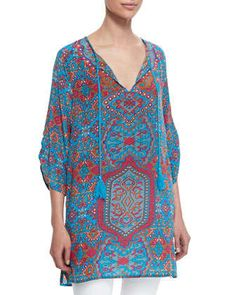 Tessa+Silk+Printed+Long+Tunic+W/+Tassels++by+Tolani+at+Neiman+Marcus.