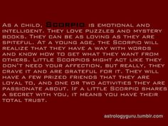 Scorpio Child - The new baby will be a Scorpio.
