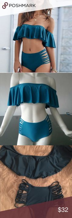 New Women's Blue Turquoise Off Shoulder Bikini New Off Shoulder Sexy Blue Turquoise Swimsuit Bikini Set   Small Solid Blue Turquoise  Off Shoulder Top Padded Cup Bottom has Hygienic Liner  Straps on the sides of the bottom, some are criss-crossed  *Picture 1 is modeled item 2-4th picture show actual swimsuit Unbranded!  made of Polyester  ✔️Ships 1-2 days  ✖️No Trades Swim Bikinis