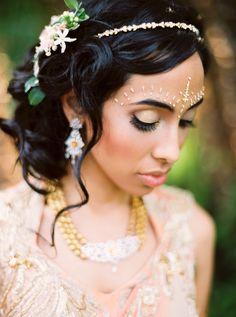 Sangeet Hair Style Updo   Jill + Niraj   Indian Wedding Blog   Think Shaadi