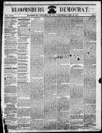 COLUMBIA COUNTY -BLOOMSBURG - About Bloomsburg democrat. (Bloomsburg, Pa.) 1867-1869 « Chronicling America « Library of Congress