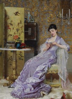 Frans Verhas The New Bracelet Frans Verhas Lady in a kimono Frans Verhas La Femme dans sa Boudoir Victorian Paintings, European Paintings, Victorian Art, Victorian Fashion, Vintage Fashion, Victorian Portraits, Victorian Jewelry, Fashion History, Fashion Art