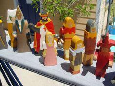 LARGE-LOT-German-Ostheimer-Kinderkram-Wooden-Toys-King-Queen-Indians-Natives