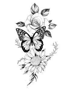 Mini Tattoos, Leg Tattoos, Body Art Tattoos, Small Tattoos, Sleeve Tattoos, Tattos, Stencils Tatuagem, Tattoo Stencils, Rose And Butterfly Tattoo