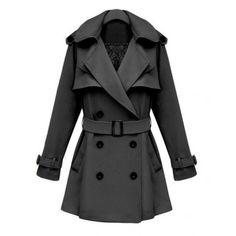 Indressme | Lapel Epaulet Shoulder Gray Trench Coat style 030305601 only $56.67 .