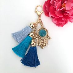 hamsa hand with tassels keychain  tassel key chain  by kaang