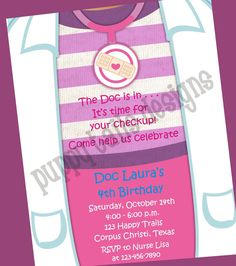 Custom Printed Doc McStuffins Birthday Party by PuppyTailsDesigns