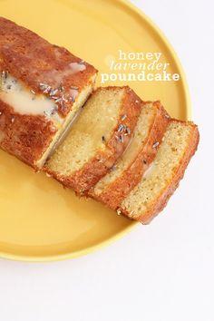 Recipe for Honey Lavender Pound Cake with a sweet lavender honey glaze.