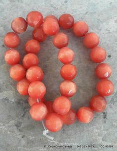 Orange Cat Eye 12mm Faceted Glass Beads by the Strand                                          CC-80292
