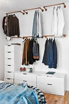 Wardrobe Racks, Clothing Wardrobes Walmart Wardrobe Wall Mounted Brass Clothing Rack Wite Lacquered Dresser With Many Drawer: inspiring clothing wardrobes. Such a guys place! Walmart Wardrobe, Wardrobe Wall, Diy Wardrobe, Open Wardrobe, Wardrobe Design, Hanging Wardrobe, White Wardrobe, Simple Wardrobe, Hanging Closet