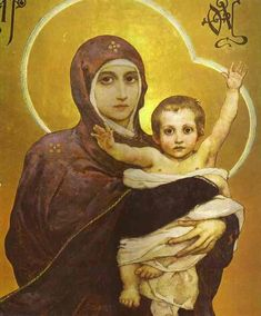 Close-up of the Vasnetsov Madonna, St Vladimir's Cathedral, Kiev. #Orthodox #Christianity #Virgin #Jesus #icons #art