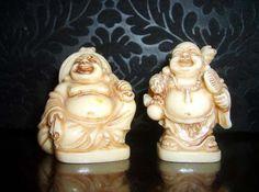 2 small Resin or Bone Happy Buddha Statues Figurine Japan