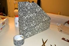 DIY Paper Containers From Cardboard Box: Today, I made use of post office cardboard boxes and patterned duct tape Paper Storage 12x12, Paper Folding, Duct Tape, Cricut, Container, Paper Crafts, Box, Pattern, Snare Drum