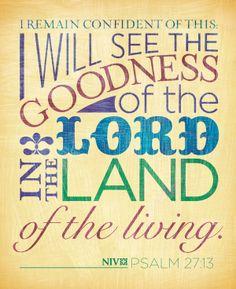 A Bible verse about God's goodness. Psalm 27:13 (NIV)