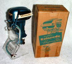 1955 Evinrude 35 HP Big Twin Blue Japan Battery Op Outboard Motor