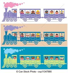 Buy Steam Train Driver by Malchev on GraphicRiver. Steam train full of cartoon characters. It is in 3 color versions. No transparency and gradients used. Train Cartoon, Train Illustration, Orient Express, Thomas And Friends, Kids Prints, Cartoon Characters, Character Design, Clip Art, Kids Rugs