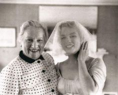 Marilyn on her wedding day with Arthur Miller's mother. Photo by Milton Greene, 1 July, 1956.