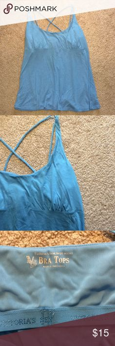 Victoria's Secret Bra Top, light blue, Size L Victoria's Secret bra top with built in shelf bra, light blue, some pilling under arms, size L. Make me an offer!! Victoria's Secret Tops Tank Tops