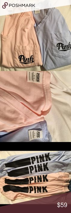 2 PINK Long sleeve tees Two brand new long sleeve tees! Firm on price and no trades sorry! PINK Victoria's Secret Tops Tees - Long Sleeve