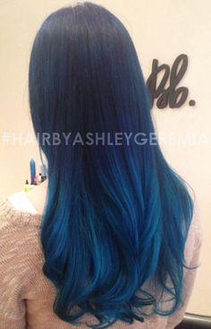 blue hair, ombre hair, blue ombre, teal hair, turquoise hair, mermaid hair #hairbyashleygeremia