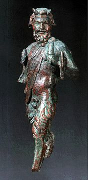 a Greek Bronze Figure of Pan,   late Hellenistic to early Roman period,   circa 1st Century, B.C