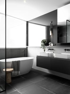 'Minimal Interior Design Inspiration' is a weekly showcase of some of the most perfectly minimal interior design examples that we've found around the web - all Bad Inspiration, Bathroom Inspiration, Bathroom Inspo, Modern Bathroom Design, Bathroom Interior Design, Bathroom Designs, Bathroom Ideas On A Budget Modern, Bathroom Design Layout, Grey Interior Design