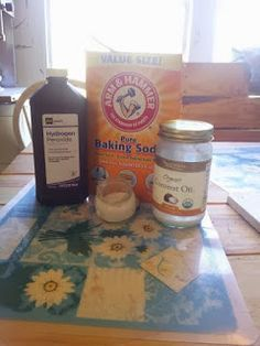 1/2 tsp coconut oil + 2 tsp baking soda and enough hydrogen peroxide to make it into a paste. 2 to 3 times a week with aloe Vera for a moisturiser. For acne.