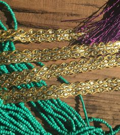 "Skinny Gold Ornate Trim 3/4"" by TrimsOnAWhim on Etsy   teal, gold, sari trims, decorative, boho chic, belt, curtains, dye, trims"