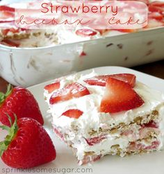 Strawberry Icebox Cake-no bake just spread thin layer of cool whip on bottom of9 x 13 pan, layer 5 graham crackers then 2 more for sides, the spread rest of cool whip on top. Place 1 lb of strawberries cubed for next layer. Layer 3 times total-tub of cool whip , 1 lb of strawberries for each layer, and 1 whole box of graham crackers used. Chill in trig for 4 hours or overnight till graham crackers have softened
