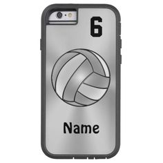 """Volleyball iPhone 6 Cases with Your NAME and NUMBER. Available in the Tough Extreme as shown, Tough and the feather weight Barely There Style in the lower right section under Style Options. <br> <br> Highlight the temporary text in the two text boxes located to your right under Personalize it. Type in YOUR TEXT or delete any or all of the text. CALL or TEXT Linda for HELP, changes to any design or to put a design on another product: <br> 239-949-9090 <br> <br> <b>100% """"Love it"""" Guarantee…"""