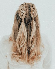 Medium Hair Styles, Curly Hair Styles, Hairstyles For Medium Length Hair Easy, Braids For Medium Length Hair, Hair Medium, Hair With Braids, Half French Braids, Dutch Braids, Double Dutch Braid