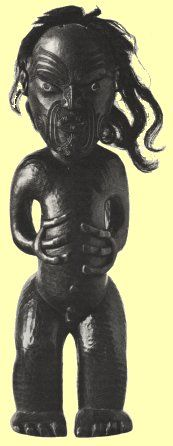 A rare free-standing Maori image. Human hair is attached to the figure's scalp.