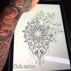 No photo description available. - Tattoos - Tattoo Designs For Women Mandala Flower Tattoos, Flower Tattoo Designs, Tattoo Designs For Women, Flower Mandala, Armband Tattoos, Sleeve Tattoos, Unique Tattoos, Beautiful Tattoos, Finger Tattoos
