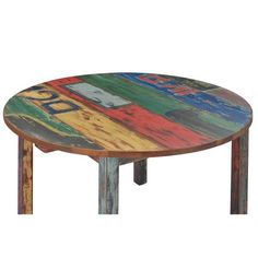 Round Wood Table, Wooden Bar Table, Reclaimed Wood Dining Table, Teak Dining Table, Diy Table Top, Table Top Design, Funky Painted Furniture, Painting Furniture, Plywood Table